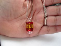 Buy Om mani padme hum pendant (RED) quartz necklece by shynnasplace. Explore more products on http://shynnasplace.etsy.com
