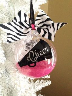 4 Inch Glitter Filled Cheerleader Ornament by MoDernTotz on Etsy, $12.00
