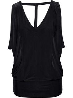 Fashionmia - Fashionmia Deep V-Neck Back Hole Plain Sleeveless T-Shirt - AdoreWe.com