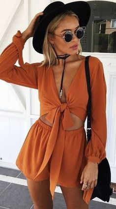 dress dark orange 2 piece short set romper orange