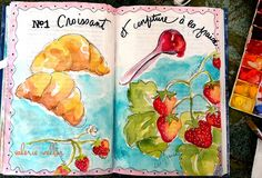 another spread in my journal book... feeling like strawberries