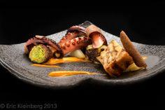 Grilled baby octopus, Korean BBQ short ribs, napa cabbage, unagi terrine, water chestnuts, kimchee purée.