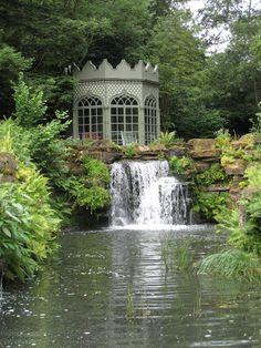 summer house, Woolbeding garden, UK Can you imagine the restful night listening to this waterfall? Patio Interior, Interior Exterior, Amazing Gardens, Beautiful Gardens, Dream Garden, Home And Garden, Parks, Gazebos, Enchanted Garden