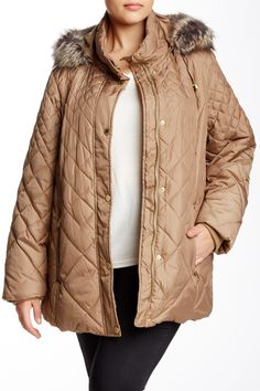 Quilted Faux Fur Trimmed Hood Jacket (Plus Size)