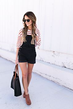 lauren kay sims wearing madewell overalls