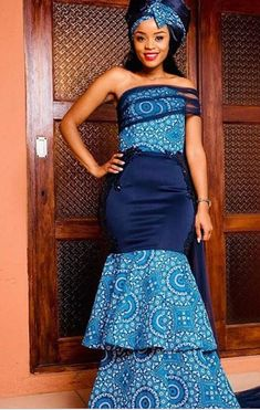 As Shweshwe continues to extend in demand and popularity, we should always expect to envision it bec African Girl, African Women, African Traditional Wedding Dress, Traditional Skirts, African Wedding Attire, Shweshwe Dresses, Dress Picture, Fashion Prints, Dress Outfits