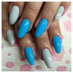 Blue and grey gel nails ballerina shape