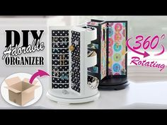 In this video DIY tutorial I show you an easy way to make the cute rotating jewellery organizer by own hands from. Cardboard Organizer, Diy Drawer Organizer, Desk Organization Diy, Make Up Organiser, Cardboard Crafts, Organizing, Jewellery Organizer Diy, Diy Crafts Tv, Diy Karton