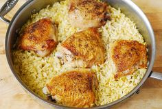 One-Pan Chicken Thighs with Sun-Dried Tomato Basil Rice