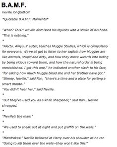 BAMF in urban dictionary just has a bunch of examples of Neville being a BAMF