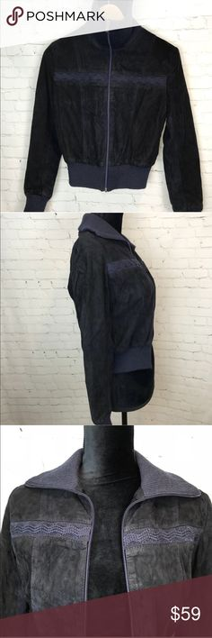 Vintage Suede Navy & Black Bomber Jacket XS Vintage Suede Navy & Black Bomber Jacket XS This beautiful vintage zip up bomber jacket features a suede exterior with embroidery across the chest. Perfect for layering with a pair of boyfriend jeans & a chunky knit, this will be your cold weather favorite. Preowned from a smoke free home in good vintage condition. Size tag is missing but fit is extra small, mannequin is size 4/6 for reference. Check out the other items in my closet & create your…