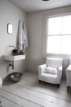 Bathroom with a chair! #bathroom #chair #white