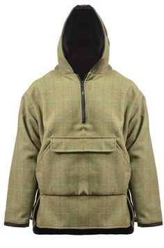 Country Classics Teflon Coated Tweed Hoodie Overhead Smoke - Colour: Brown Check, Size: 2XL