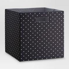 13 Fabric Cube Storage Bin Black/White Polka Dot - Threshold, Black With White Polka Dots Cubby Storage, Craft Storage, Storage Spaces, Storage Cubes, Storage Drawers, Ikea Bins, 6 Cube Organizer, Fabric Bins, Fabric Storage