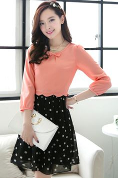 Dotted A-line Chiffon Dress - OASAP.com