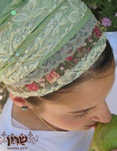 Brooch with Tichel | Green Flower- tichel,Hair Snood, Head Scarf,Head Covering,jewish ...