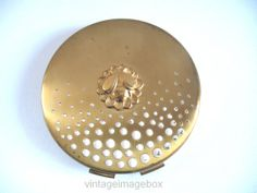YARDLEY Powder Compact, goldtone metal with bee motif top, vintage ladies cosmetic accessory, retro women's vanity and beauty, 1950s 50s era, by VintageImageBox