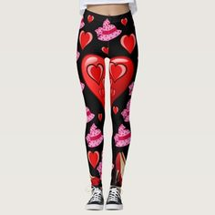 red pink hearts black leggings long teenagers