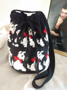 Crochet Black Sling/Cross Body Bag. Scotties Bag. by RainbowKnit
