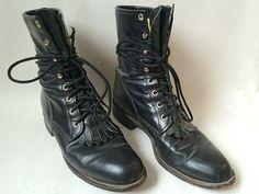 Vintage Black Leather Justin Fringe Boots by Baxtervintage on Etsy