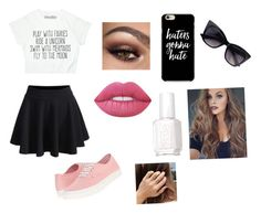"""""""Everyday Look"""" by heyitzfran ❤ liked on Polyvore featuring WithChic, Vans, Lime Crime and Essie"""