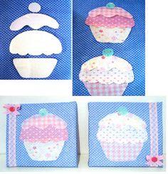 Quadrinhos Cupcake com colagem de  tecido by Jessica Santin (Jehhhhh), via Flickr