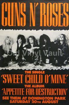 Guns N' Roses Donington Park UK 1988 Concert Poster A3 Repro | eBay