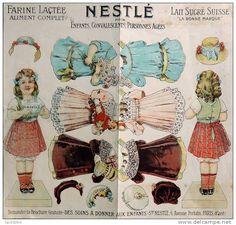 Découpage ancien - Nestlé - Poupée à habiller avec 2 noeuds dans les cheveux - Paper Doll - Delcampe.net