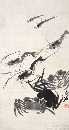 齊白石 《水族图》】镜心,纸本,67.5×35.5cm。 白石笔下的鱼虾蟹虽妙得天成,但总是透出一种平实、自然、朴质的气息。本图水族為齊白石晚年所作,诸物均不着一笔色彩,全以浓淡水墨为之。鱼、虾、蟹合八之吉数。该画构图新颖,笔致工稳,墨色如意。