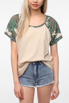 Truly Madly Deeply Camouflage Sleeve Raglan Boyfriend Tee Online Only  urban outfitters