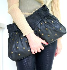 Oversized clutch  studded leather handbag  comes with by Bartinki,