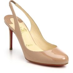 Christian Louboutin Beige Fifi Patent Leather Slingback Pumps