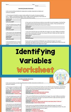 Identifying Variables worksheet gives students practice with identifying independent, dependent and control variables in realistic science scenarios! Science Inquiry, 6th Grade Science, Middle School Science, Physical Science, Science Classroom, Teaching Science, Library Science, Elementary Science, Environmental Science
