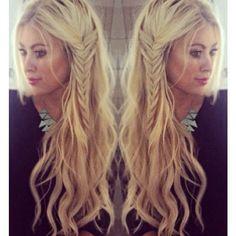 Love her hair! Beach waves with a side braid...boho hairstyle womens long hair loose waves