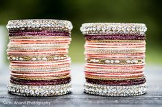 You might want to put your shades on because you might get blinded by the brilliance I'm about to bring you today. Bridal Bangles, Bridal Jewelry Sets, Silver Bracelets, Bangle Bracelets, Indian Jewelry, Indian Bangles, Bollywood Jewelry, Thread Jewellery, Bangle Set