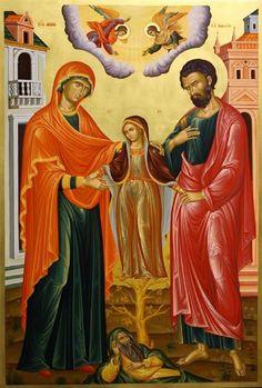 Nativity of the Blessed Virgin Mary Orthodox Catholic, Catholic Art, Orthodox Christianity, Byzantine Icons, Byzantine Art, Religious Icons, Religious Art, Saint Joachim, Greek Icons