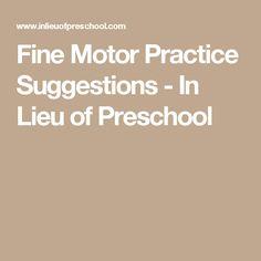 Fine Motor Practice Suggestions - In Lieu of Preschool