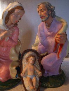 Items similar to Nativity Joseph Mary Jesus Italian Nativity Figures on Etsy Nativity Scene Pictures, Jesus Mary And Joseph, Serenity, Hand Painted, Painting, Larger, Faces, Italy, Art