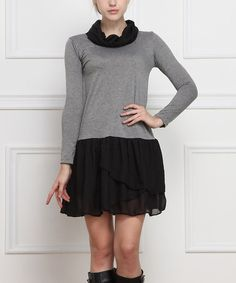 Another great find on #zulily! Black & Gray Cowl Neck Dress by Reborn Collection #zulilyfinds