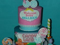 Here is a cake I made for a candy land themed baby shower :)