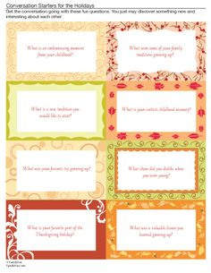 Conversation Starters for Thanksgiving Dinner (Printable Thanksgiving Activity for Kids) | Spoonful