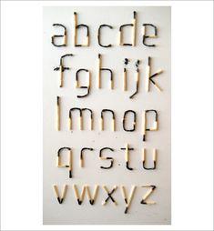 Experimental Matchstick Typeface / work and photo by Spenser Garden. via Aqua Velvet. #typography