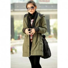 Casual Hot Sale Style Long Sleeves Hooded Solid Color Zipper and Pocket Embellished Women's Thicken Coat, ARMY GREEN, L in Jackets & Coats | DressLily.com