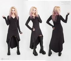 Dress Virgo with asymmetric cut and sleeves with by FreakButik