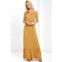 Like I Love You Golden Yellow Halter Maxi Dress ($17) ❤ liked on Polyvore featuring dresses, yellow, maxi dress, white maxi dress, halter maxi dress, white maxi skirt and long white maxi skirt