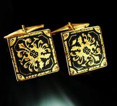 507173d8955c Vintage Black Damascene Cufflinks Gold Spanish Revival Wedding groom gift  estate jewelry mens gift cuff links 24kt gold kilates