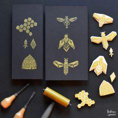 andrealaurenprintmaking:  Block Print Bees by Andrea Lauren Instagram