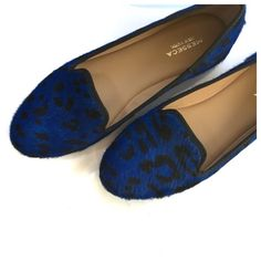 Blue Leopard Loafer Flats Sz 8 ❌NO TRADES❌  - Blue Leopard Loafer Flats Sz 8  - Genuine calf-hair, med-bright blue hue, with black spots.    - Light cushion insole.  - Great used condition Messeca Shoes Flats & Loafers