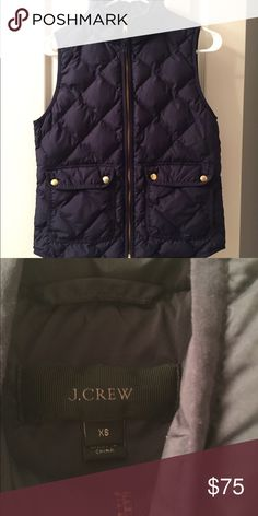 J Crew Quilted Down Excursion Puffer Vest Navy XS In great condition. No trades. No lowball offers. Size XS. Cheaper on ♏️. J. Crew Jackets & Coats Vests
