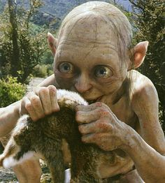 Gollum, Lord of the Rings --- he wants so very much to be good, but is not willing to sacrifice the ring, his 'precious.' He is often in deep conflict, his 'good' side against the 'bad', but in the end, Gollum, not Smeagol, wins the battle for dominion.
